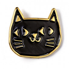 Black & Gold Cat Enamel Pin