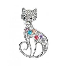 Elegant Silver Colourful Cat Brooch