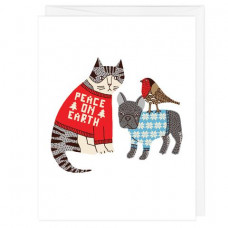 Peace On Earth Sweater Pets Holiday Card