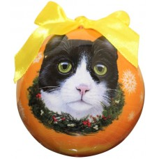 Hanging Christmas Bauble - Black & White Cat