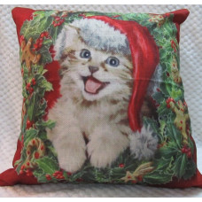 Meowy Kitty Christmas Wreath Cushion Cover