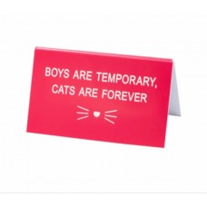 Desk Sign - Boys are Temporary, Cats are Forever