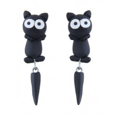 Black Cartoon Cat Dangle Earrings