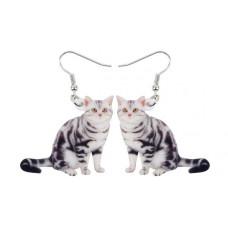 Grey Tabby Acrylic Earrings
