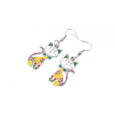 Colourful Enamel Cat Earrings
