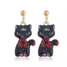 Oriental Cat Hanging Earrings - Black Cat
