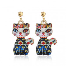 Oriental Cat Hanging Earrings - Multi-Coloured Cat