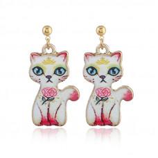 Oriental Cat Hanging Earrings - Pink Cat