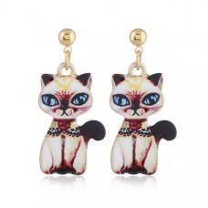 Oriental Cat Hanging Earrings - Siamese Cat