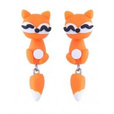 Orange Cartoon Cat Dangle Earrings