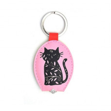 Woodcut Cat Key-Light Keyring