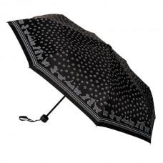 Grey Cat on Black Fabric with Cat Handle Umbrella