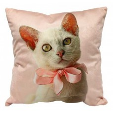 Pink Bow Kitten Cushion