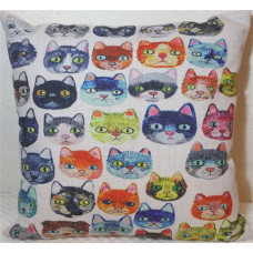 Colourful Cat Heads Cushion