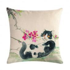 Black & White Cat in the Garden Cushion #2