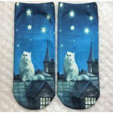 Starry Night Cat Socks