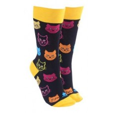 Cat Face Socks - Yellow